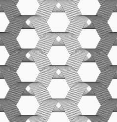 Ribbons gray shades overlapping grid pattern vector