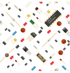 Seamless electronic components pattern vector