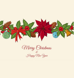 seamless festive border pattern with traditional vector image