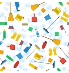 Seamless pattern of cleaning items vector image