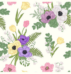 seamless pattern with anemones spring flowers and vector image