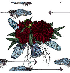 seamless pattern with arrow and peony bouquet vector image