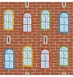 Seamless Pattern with Brick Wall and Color vector image