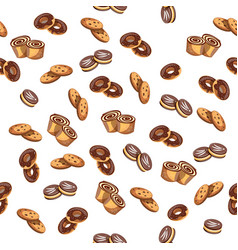 seamless pattern with glazed donuts and biscuit vector image
