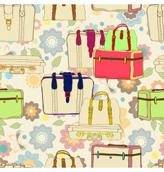 seamless suitcases vector image