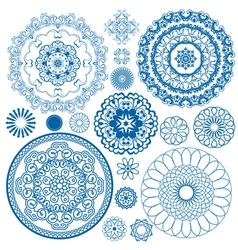set blue circle 380 vector image