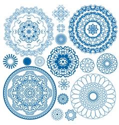 Set blue circle 380 vector
