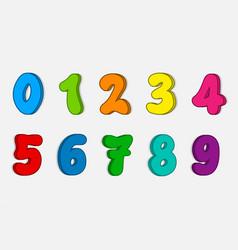 set colorful numbers cartoon kids figures number vector image
