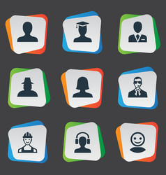 Set simple member icons vector
