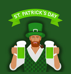 st patricks day greeting card redhead irish man vector image