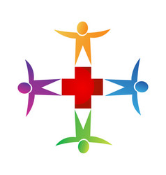 Teamwork medical emergency people icon logo vector