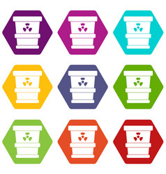 trashcan containing radioactive waste icon set vector image
