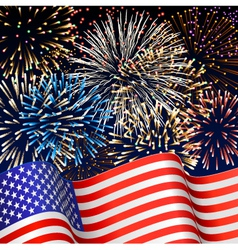 USA flag with fireworks vector image