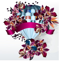 valentines day back with orchids and air balloon vector image