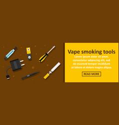Vape smoking tools banner horizontal concept vector