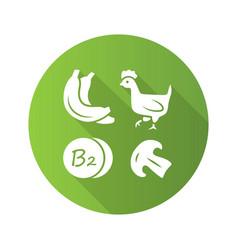 Vitamin b2 green flat design long shadow glyph vector