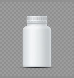 white plastic bottle for medicine pills vector image