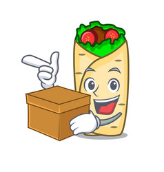 With box burrito character cartoon style vector