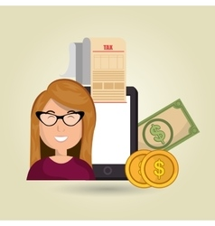 woman smartphone taxes money vector image