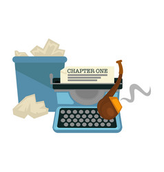 writers items typing machine and smoking pipe vector image