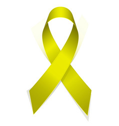 Yellow textile ribbon emblem of fight against vector
