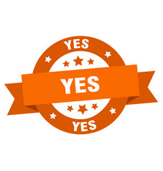 yes ribbon yes round orange sign yes vector image