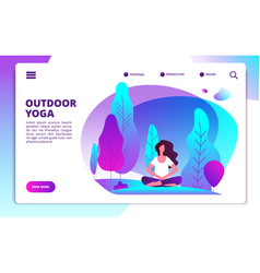 Yoga landing page woman doing fitness workout vector
