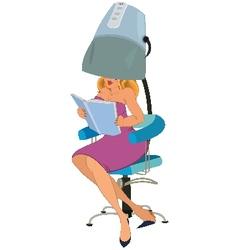 Cartoon woman sitting under blow dryer vector image vector image