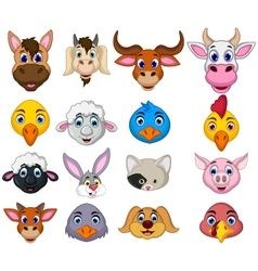 farm animal head cartoon collection vector image