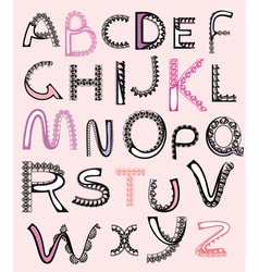 patterned letters alphabet lace vector image