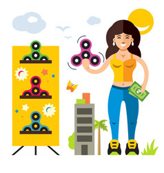 spinner seller flat style colorful cartoon vector image vector image