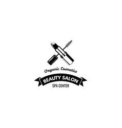 beauty salon label mascara for eyelashes lipstick vector image