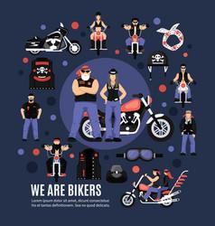 bikers icons set vector image vector image