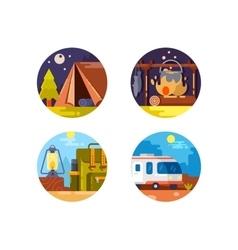 Camping set icons vector image