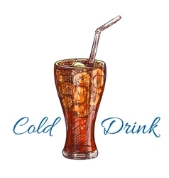 Cold soda drink with ice isolated sketch vector image vector image