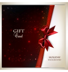 Elegant holiday background with red bow and place vector image vector image