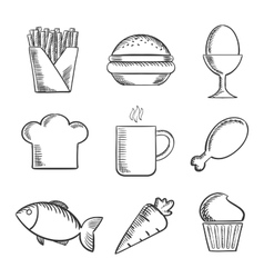 Food and drinks sketched icons set vector image