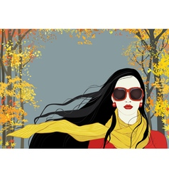 Girl with yellow scarf vector image vector image