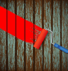 paint roller and an old wooden fence vector image vector image
