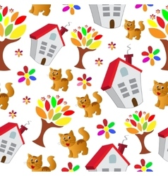 Seamless pattern with house cat and tree vector image vector image