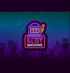 slot machine logo in neon style neon sign bright vector image