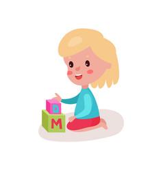 cute blonde little girl sitting on the floor vector image