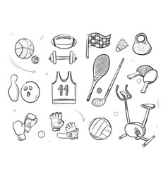 hand drawn sketch sports fitness equipment vector image