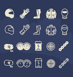 line and outline auto parts and motorbike vector image vector image