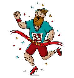 man runner cross the finish line cartoon style vector image