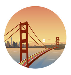 san francisco scene round icon vector image