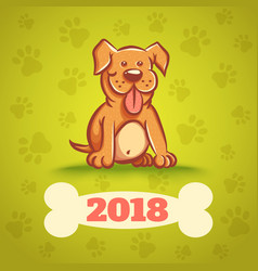 dog with bone 2018 vector image vector image