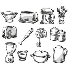 Set of kitchen appliance vector