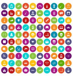 100 film icons set color vector