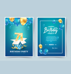 71st years birthday invitation double card vector